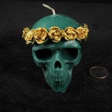 Roses Skull Candle - Green with Gold Roses