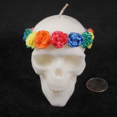 Roses Skull Candle -  White with Rainbow Roses