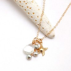 Pearl and Quartz Starfish Necklace